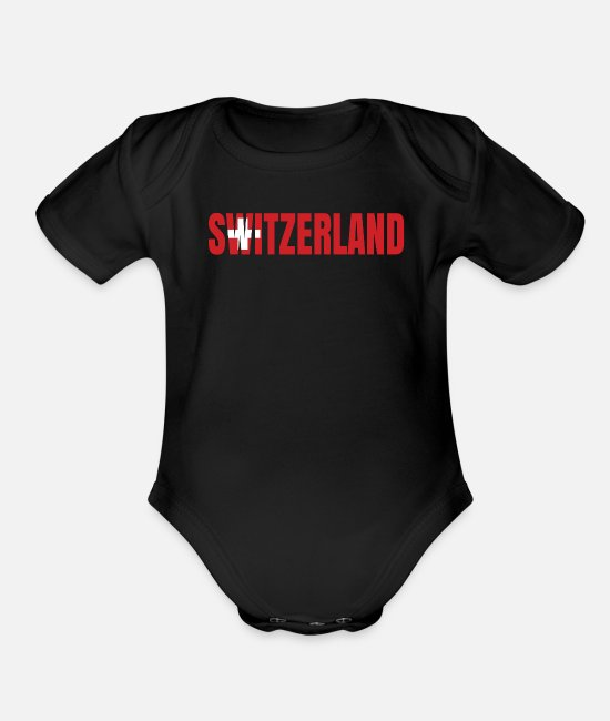 Switzerland Baby One Pieces - switzerland - Organic Short-Sleeved Baby Bodysuit black