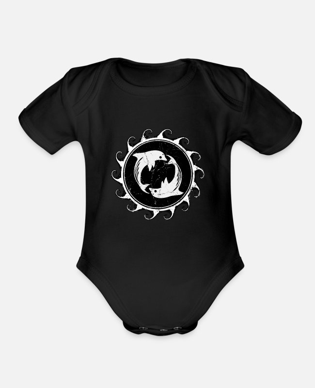 Design Baby One Pieces - Twin Dolphins - Organic Short-Sleeved Baby Bodysuit black