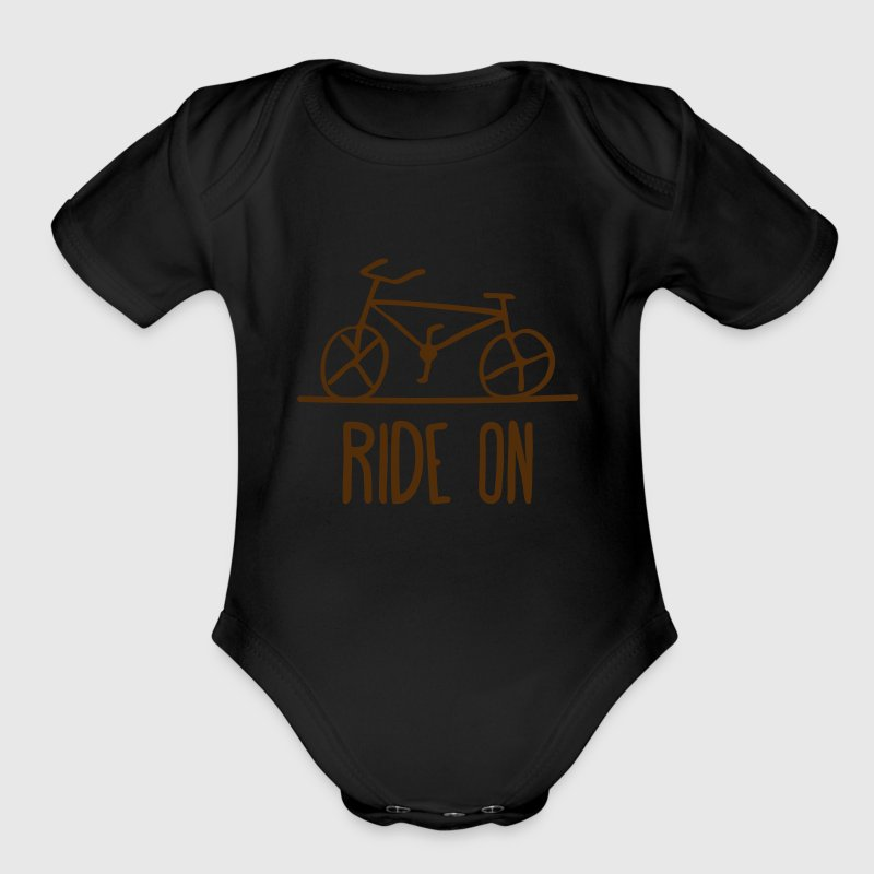 bicycle ride on bike cycle wheels drawing cycling  - Organic Short Sleeve Baby Bodysuit