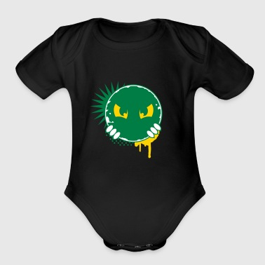 Cartoon character eyes- patch - Organic Short Sleeve Baby Bodysuit