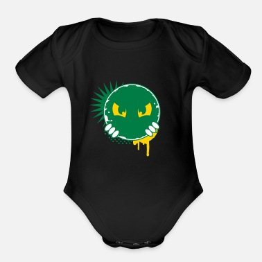 Eye-patch Cartoon character eyes- patch - Organic Short Sleeve Baby Bodysuit