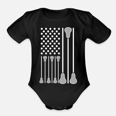 Lacrosse Player Lacrosse Stick Flag - Organic Short-Sleeved Baby Bodysuit