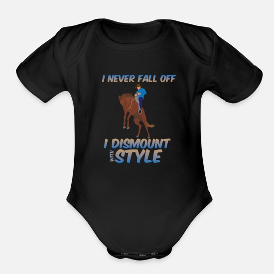 Birthday Baby Clothing - Funny Horse Riding Rider Pony Lover - Organic Short-Sleeved Baby Bodysuit black