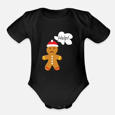 Man Gingerbread Man, Ugly Christmas - Organic Short-Sleeved Baby Bodysuit