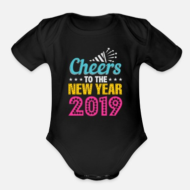 Suff New Years Eve Happy New Year 2019 Fireworks Gift - Organic Short-Sleeved Baby Bodysuit