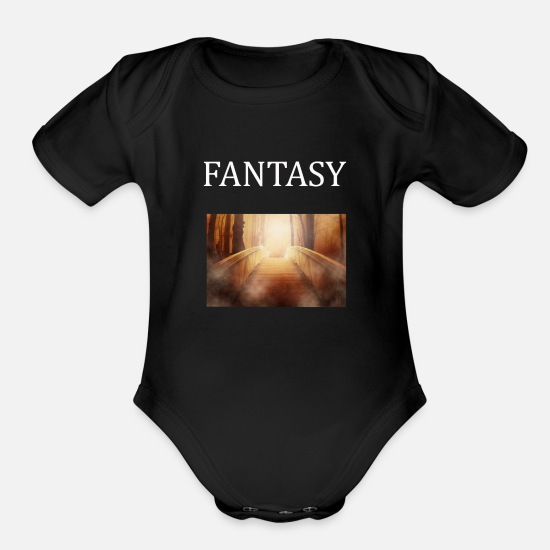 Fantasy Baby Clothing - fantasy - Organic Short-Sleeved Baby Bodysuit black