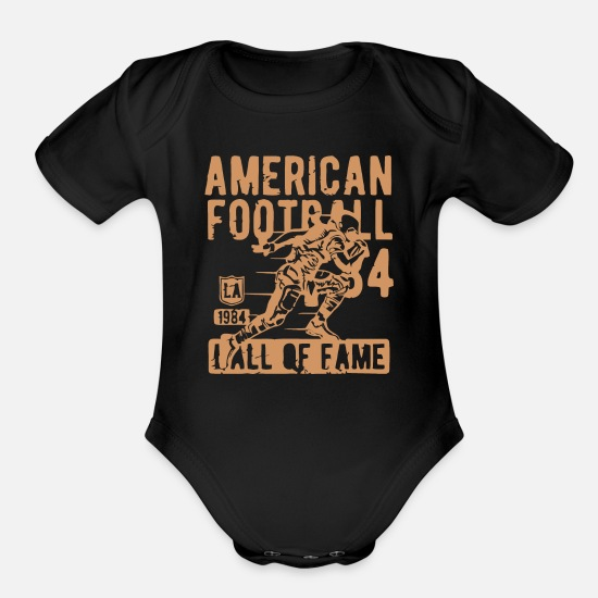 American Football Baby Clothing - America Foot Ball - Organic Short-Sleeved Baby Bodysuit black