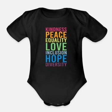Human Righ Peace Love Inclusion Equality Diversity Human Righ - Organic Short-Sleeved Baby Bodysuit