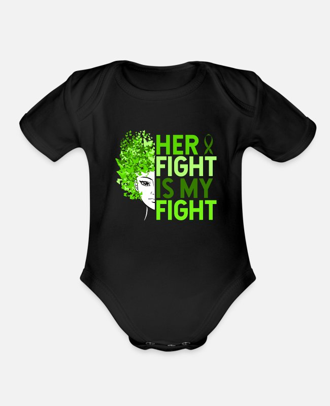 Lyme Baby One Pieces - Her Fight Is My Fight - Organic Short-Sleeved Baby Bodysuit black