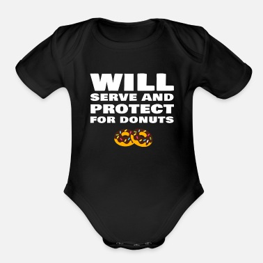 Police Funny Police Officer Policeman Policewoman Donut - Organic Short-Sleeved Baby Bodysuit