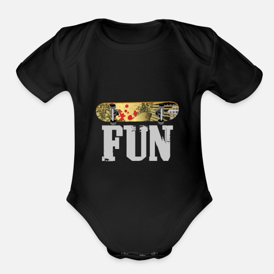 Wheel Baby Clothing - Skateboard Fun | Deck Skater Gift Skating - Organic Short-Sleeved Baby Bodysuit black