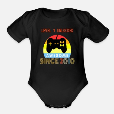 9 Level 9 Unlocked Awesome Since 2010-9th Birthday - Organic Short-Sleeved Baby Bodysuit