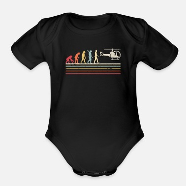Down Helicopter Print. Retro Style Pilot Graphic - Organic Short-Sleeved Baby Bodysuit