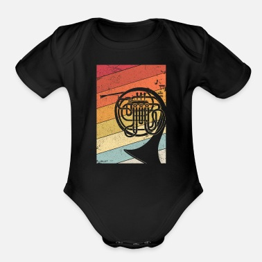 Job French Horn Graphic. Retro Style Brass Band Design - Organic Short-Sleeved Baby Bodysuit
