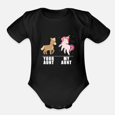 Your Aunt My Aunt Unicorn - Organic Short-Sleeved Baby Bodysuit