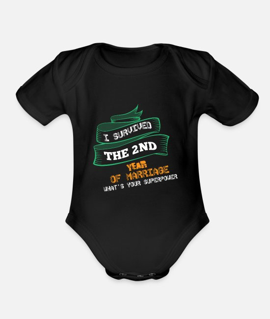 Weeding Baby One Pieces - married , marriage , couple , marriage lover gift - Organic Short-Sleeved Baby Bodysuit black