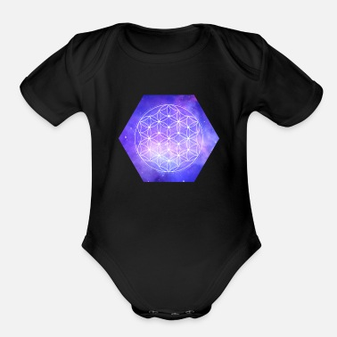 Life Flower Flower Of Life Galaxy - Organic Short Sleeve Baby Bodysuit