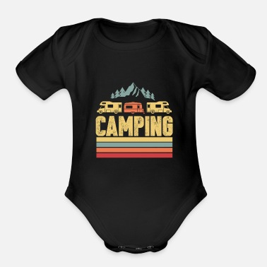 Camping Camper Mountains Tent Gift - Organic Short-Sleeved Baby Bodysuit