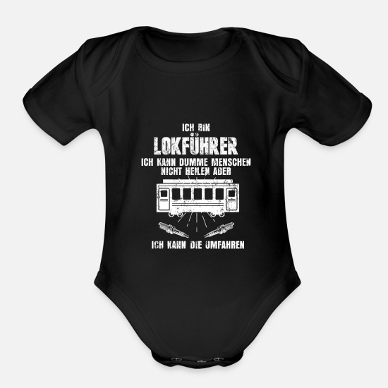 Train Driver Baby Clothing - Train Train - Organic Short-Sleeved Baby Bodysuit black