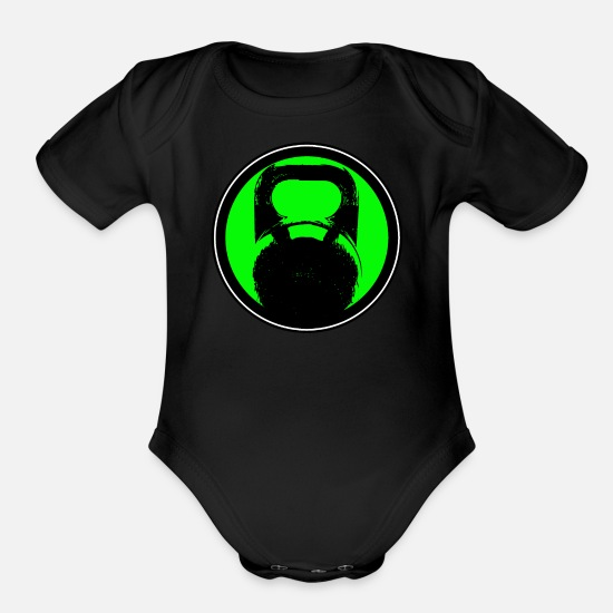 Bodybuilding Baby Clothing - Kettlebell - Organic Short-Sleeved Baby Bodysuit black