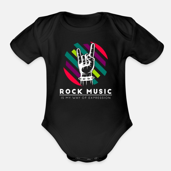Rock Baby Clothing - Rock and Roll - Organic Short-Sleeved Baby Bodysuit black