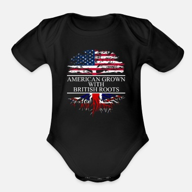 British American grown with british roots - Organic Short-Sleeved Baby Bodysuit