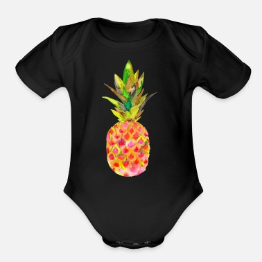 Watercolour PINEAPPLE WATERCOLOUR - Organic Short-Sleeved Baby Bodysuit