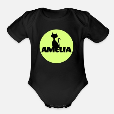 Name Day Amelia First name Name Name Motif Christening - Organic Short-Sleeved Baby Bodysuit