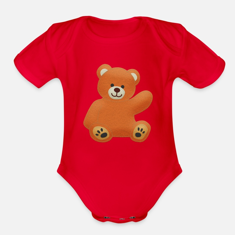 dc17b39d5c9a Felt Teddy Bear Organic Short-Sleeved Baby Bodysuit