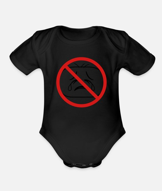 Design Baby One Pieces - shield prohibited not allowed face head sad cry ho - Organic Short-Sleeved Baby Bodysuit black