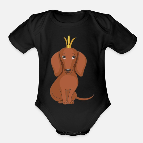 Love Baby Clothing - Dog queen with crown - Organic Short-Sleeved Baby Bodysuit black