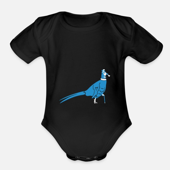 Pheasant Baby Clothing - Sir Pheasant - Organic Short-Sleeved Baby Bodysuit black