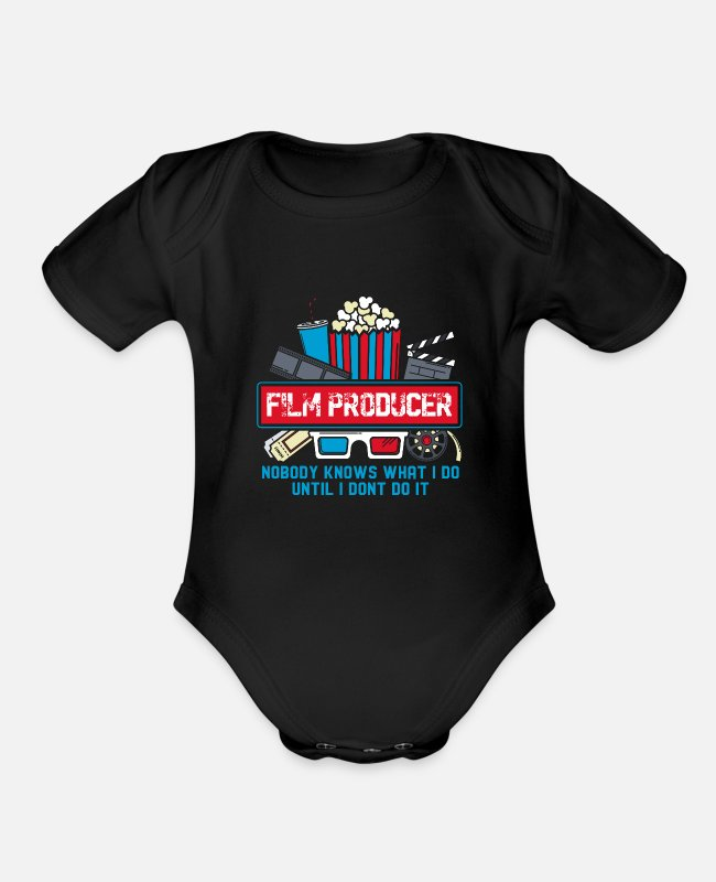 Role Baby One Pieces - Film Producer - Organic Short-Sleeved Baby Bodysuit black