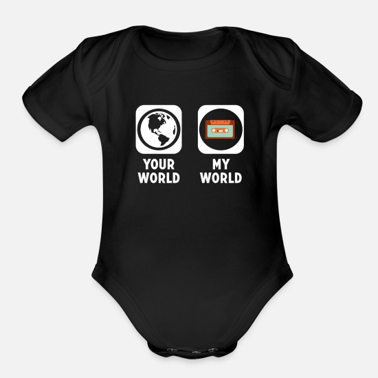 Love Baby Clothing - Cassette - Organic Short-Sleeved Baby Bodysuit black