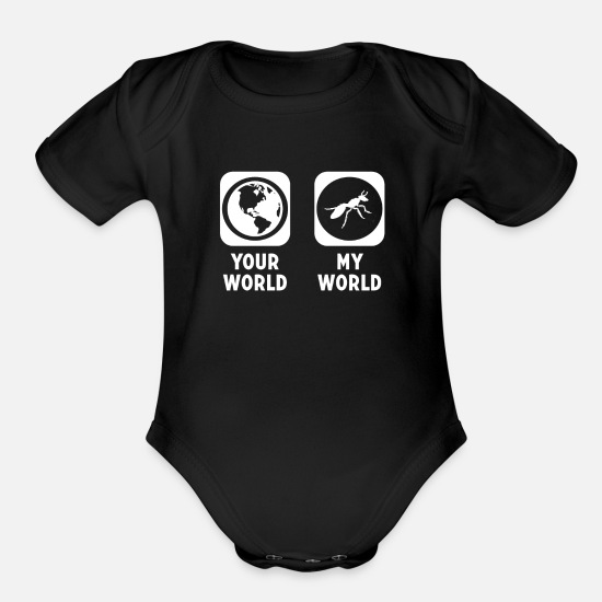 Ant Baby Clothing - Ant - Organic Short-Sleeved Baby Bodysuit black