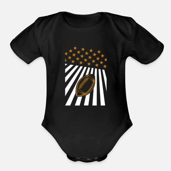 American Football Baby Clothing - American football - Organic Short-Sleeved Baby Bodysuit black