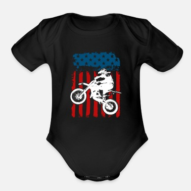 Scooter Motorcycle USA - Organic Short-Sleeved Baby Bodysuit