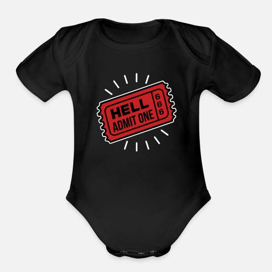 One Night Stand Baby Clothing - Hell Admit One - Organic Short-Sleeved Baby Bodysuit black