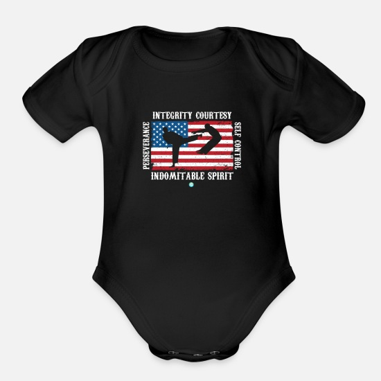 Tae Kwon Do Baby Clothing - Cool Martial Arts Design Integrity Courtesy Gift - Organic Short-Sleeved Baby Bodysuit black