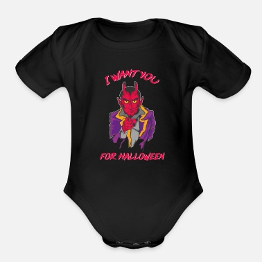 Devils Horn Halloween Devil Horns Lucifer - Organic Short-Sleeved Baby Bodysuit