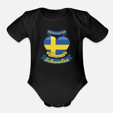 Holidaymaker Sweden Gift Idea Heart - Organic Short-Sleeved Baby Bodysuit