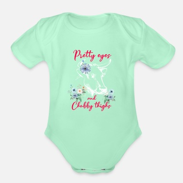 Farmer Pretty Eyes Chubby Thighs Cow Cows Gift - Organic Short-Sleeved Baby Bodysuit