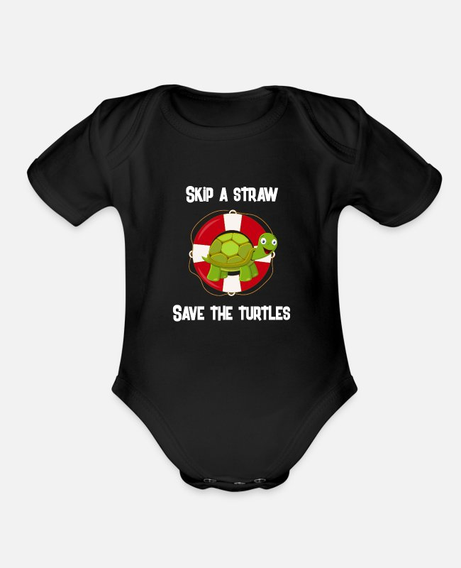 Earth Baby One Pieces - Skip A Straw Save The Turtles For Ocean Lover - Organic Short-Sleeved Baby Bodysuit black
