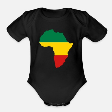 Red Black And Green Green, Gold (Yellow) & Red Africa Flag - Organic Short-Sleeved Baby Bodysuit