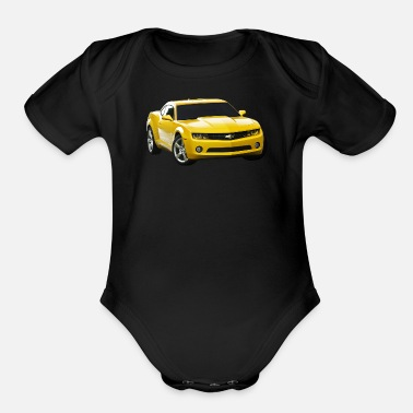 Yellow YELLOW CAMARO - Organic Short-Sleeved Baby Bodysuit
