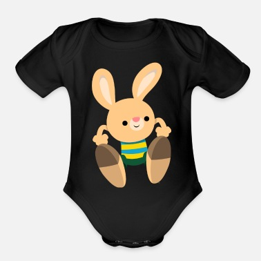 Collection For Kids Cute Leaping Cartoon Rabbit by Cheerful Madness!! - Organic Short Sleeve Baby Bodysuit