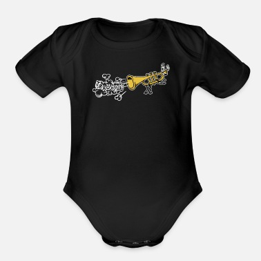 Countrymusic Funny Trumpet Folk Musik Countrymusic Cartoon - Organic Short-Sleeved Baby Bodysuit