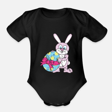 Easter Bunny Retro Vintage Grunge Style Easter Bunny - Organic Short Sleeve Baby Bodysuit