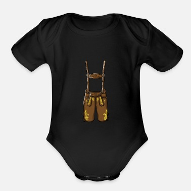 Leather Pants Oktoberfest costume leather pants - Organic Short-Sleeved Baby Bodysuit