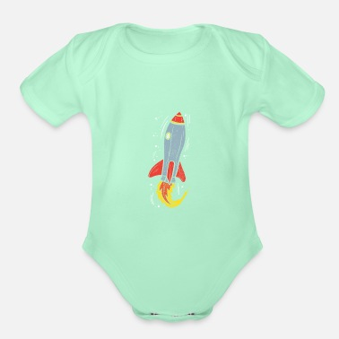Explosion Rocket to the Moon - Organic Short-Sleeved Baby Bodysuit